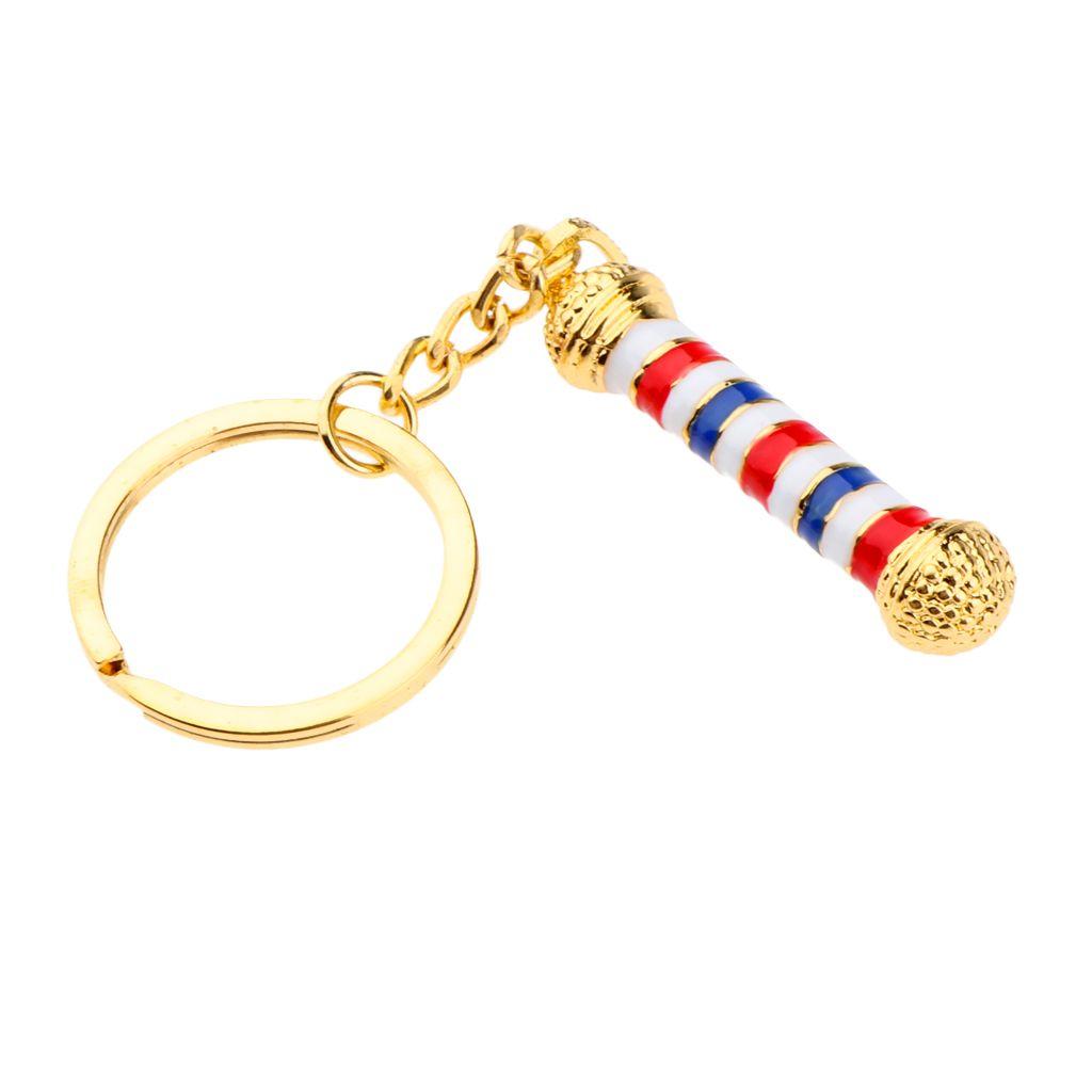Alloy Keychain Barbershop Pendant Necklace Barber Pole Chain For Men, 4.5 x 1cm