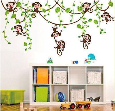 طفل الحضانة ديكور جميل الطبيعة الجديدة القرد الحيوانية الرعوية الغابة شجرة جدار ملصق للإزالة PVC الفن الفينيل الشارات