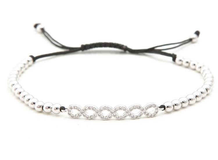 gold Silber micro pave cz Zirkonia Seil eingestellt Kupfer Perlen Armband sty354 Charme Geflochtene Armreifen Frauen