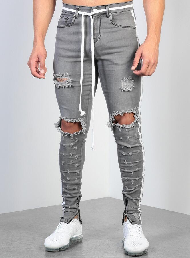 2019 Mens Ripped Ribbon Grey Skinny Jeans Fashion Designer Hi Street Distressed Denim Joggers Knee Holes Washed Destroyed Slim Fit Pants L0023 From