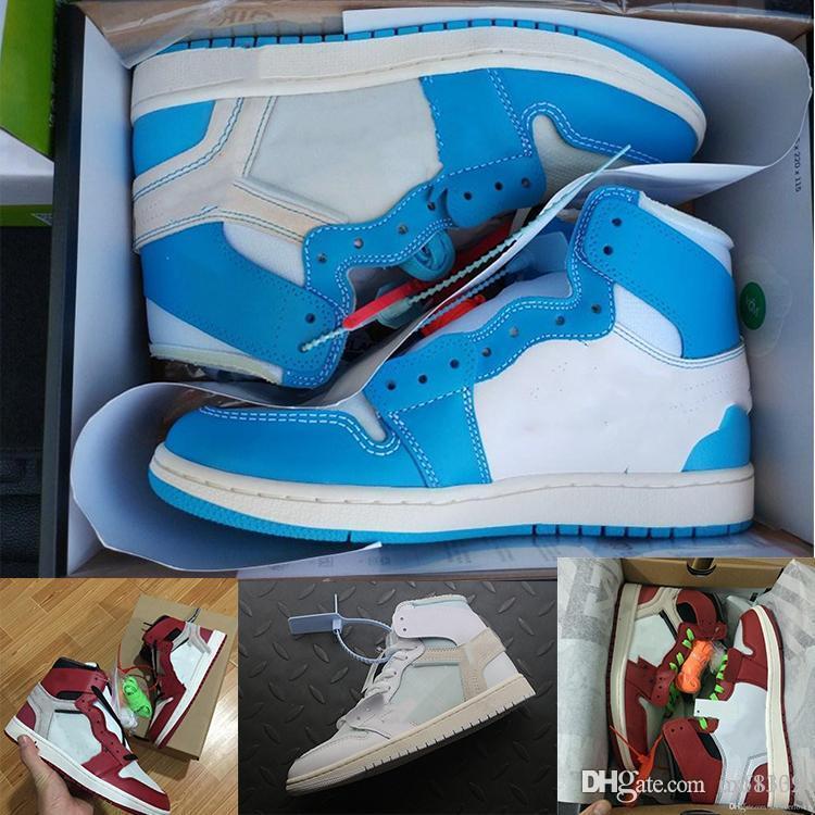 Hot 1OG Basketball-Schuh-Männer Chicago rot 1S Turnschuhe weg Blau weißen Turnschuhe Luxussportschuhe Frauen Designer-Schuhe UNC Powder Größe 36-47.