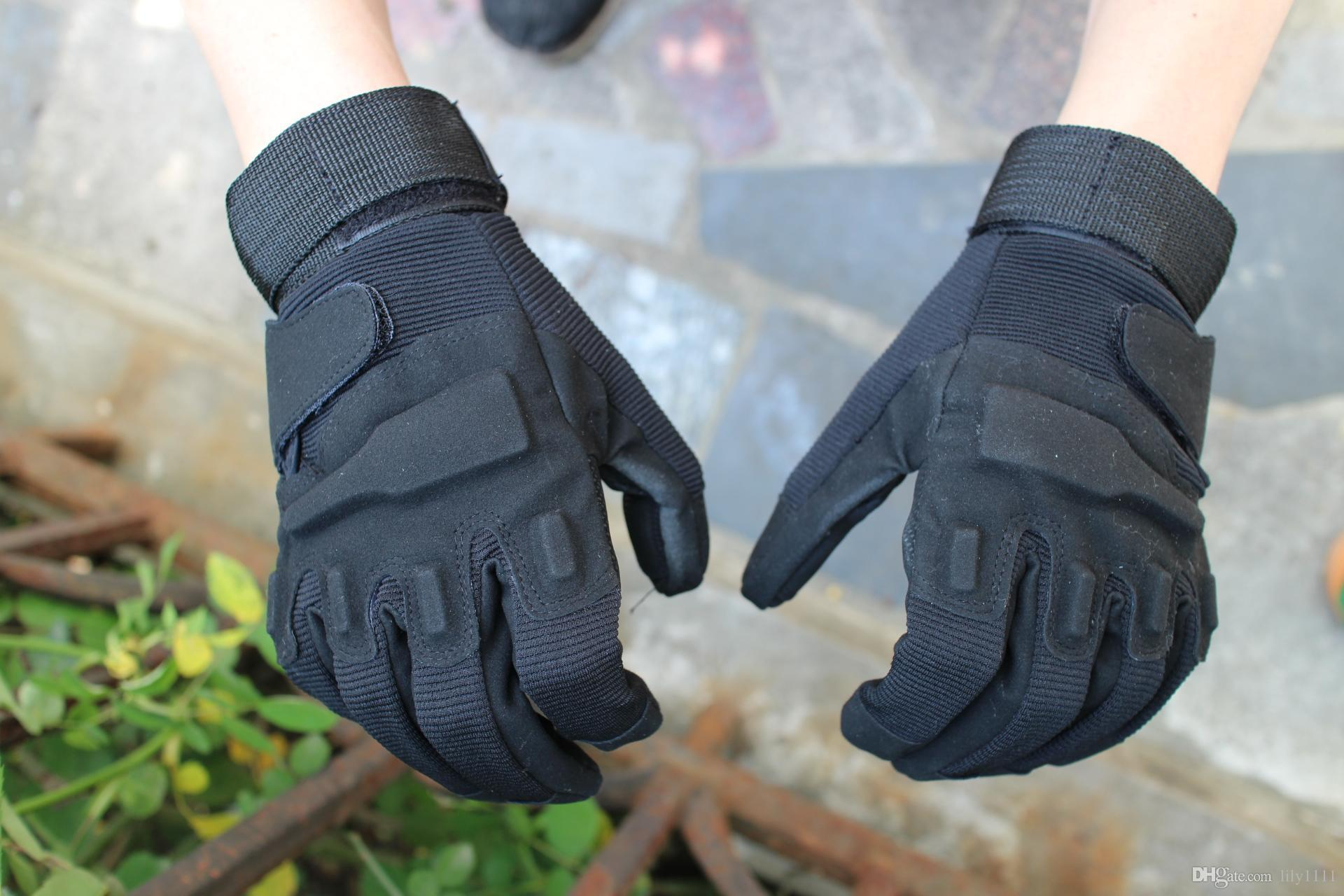 Shanghai Story Men's Army Gloves Man Full Finger Tactical Gloves Military Quick Dry Anti-Slippery Leather Combat Gloves 3 Color