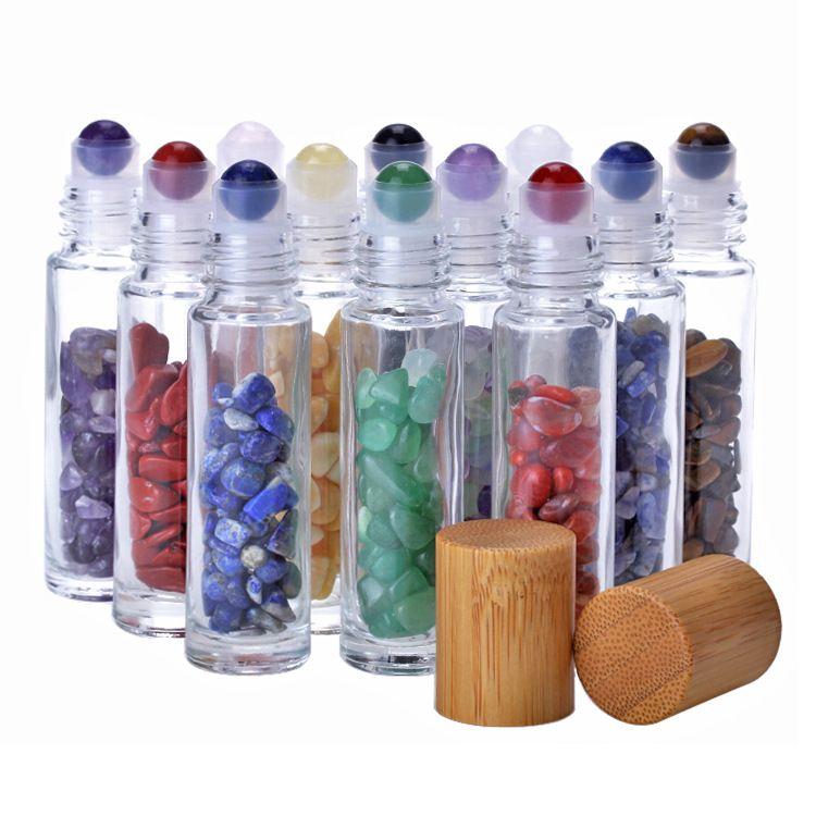 10 ملليلتر زجاجات النفط الأسطوانة الزجاج لفة الزجاج على زجاجات العطور مع سحق الكريستال الطبيعي الكوارتز حجر الكريستال الأسطوانة الكرة الخيزران كاب
