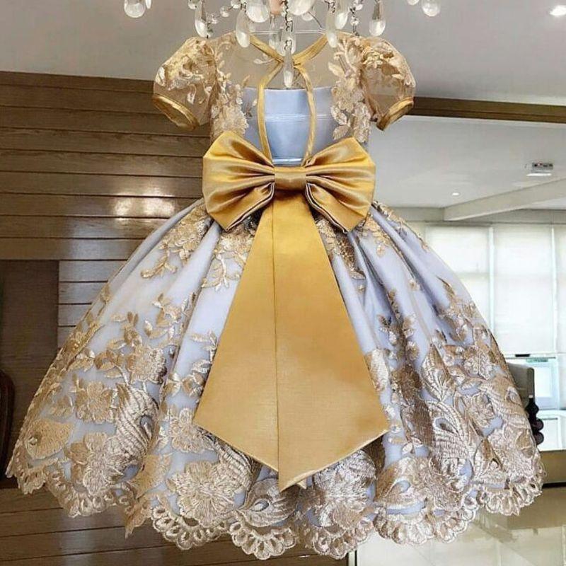 Desgaste de las muchachas del vestido de la princesa partido de los niños Año Nuevo elegante vestido de novia vestidos de los niños de las niñas fiesta de cumpleaños vestido Vestido