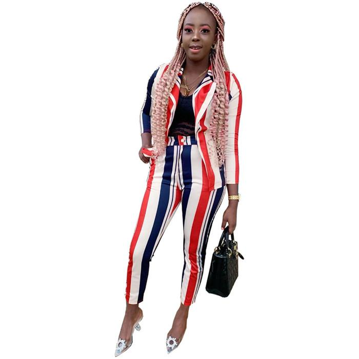 Striped Women Sexy Two Piece Pants Classic Full Sleeve Blazer Top Long Pencil Pants High Waist Leisure Ladies Suits