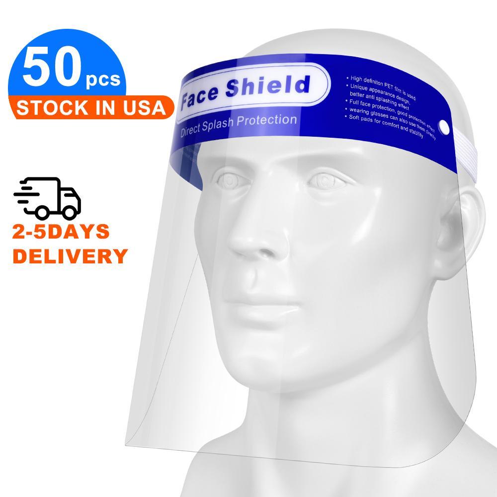 50pcs / lot Limpar completa face escudo para homens e mulheres, de plástico transparente de segurança respirável descartável Full Face Escudo protecte Eye