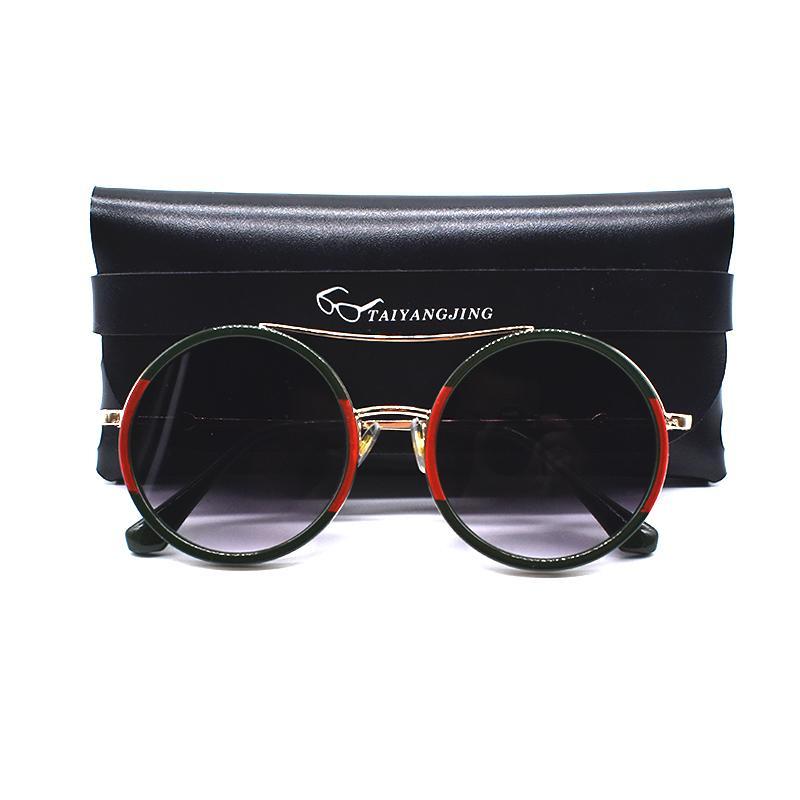 großhandel vintage sonnenbrille frauen mit tasche twin strahlen runde gläser marke designer metall rahmen tades sonnenbrille gafas de sol mujer