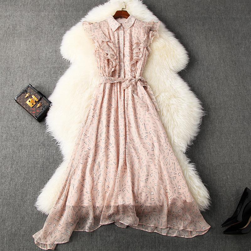 2020 весна лето без рукавов отворотом шеи черный / розовый печати шифон рябить Деталь Belted Mid-теленок платье Элегантные повседневные платья LM02T10790