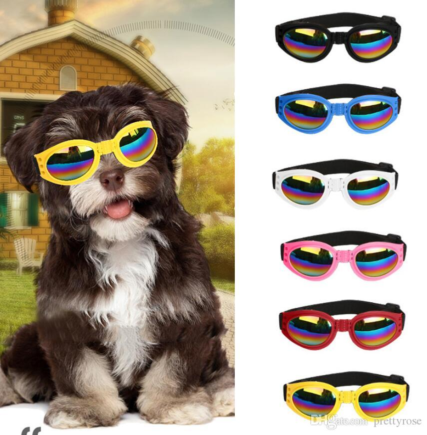 6 Colors Foldable Pet Dog glasses medium Large Dog pet glasses Pet eyewear waterproof Dog Protection Goggles UV Sunglasses Free Shipping