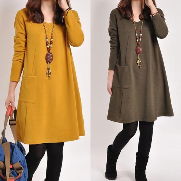 Мода Новый 2015 Зима Осень Повседневная Платья для Беременных Беременность Платье для Беременных Свободные По Колено Беременные Одежда