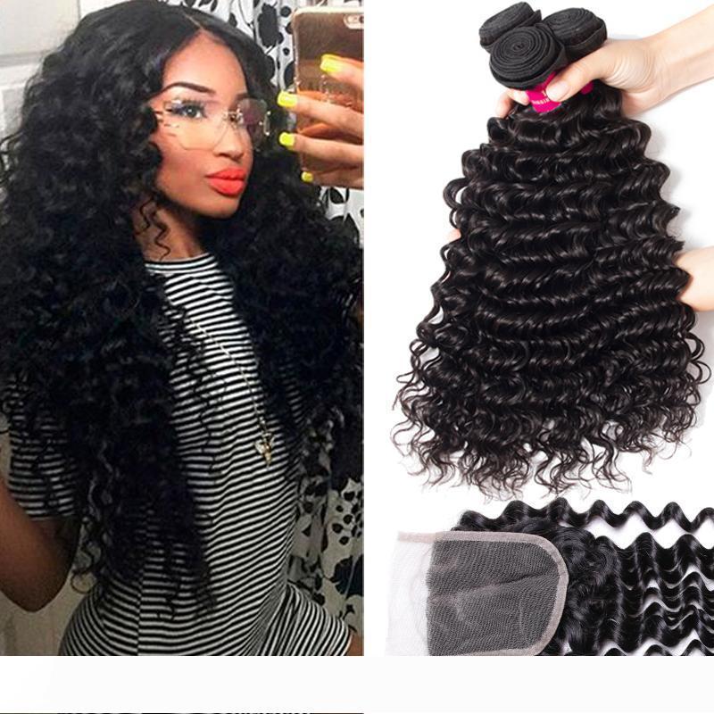 9A brasileños Humanos Bundles Tejidos de pelo con cierre de cordón de 4X4 de cierre 100% de la Virgen brasileña peruana de Malasia Virgen india del cabello humano