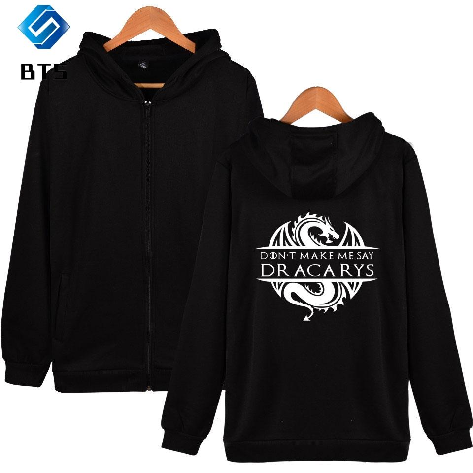 2019 Dracarys new print comfortable Cool Zipper Hoodies Sweatshirt Women/men Fashion high quality Winter/Autumn Hoodies Zippers