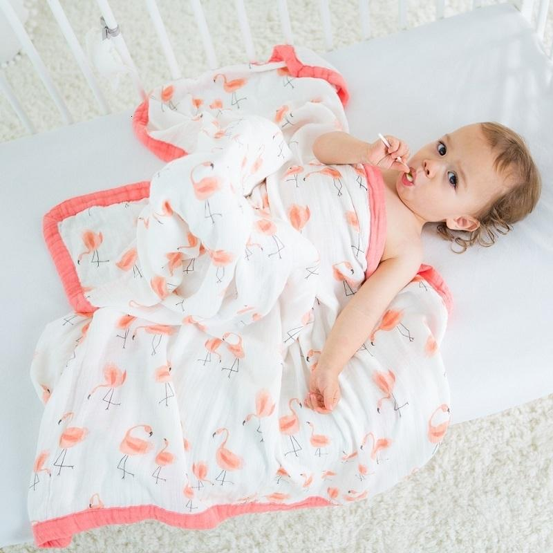 Baby Blanket Bamboo Muslin Four Layers Cartoon Newborn Swaddling Babies Swaddle Wrap Super Comfy Kids Bath Towel Infant BeddingMX190910