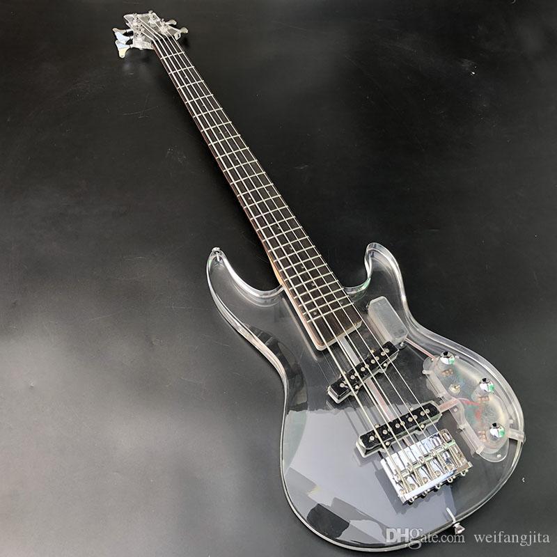 LED blanco de acrílico de 5 cuerdas de la guitarra baja, recogida transparente, cuerpo de acrílico con luces y diapasón de LED, envío libre
