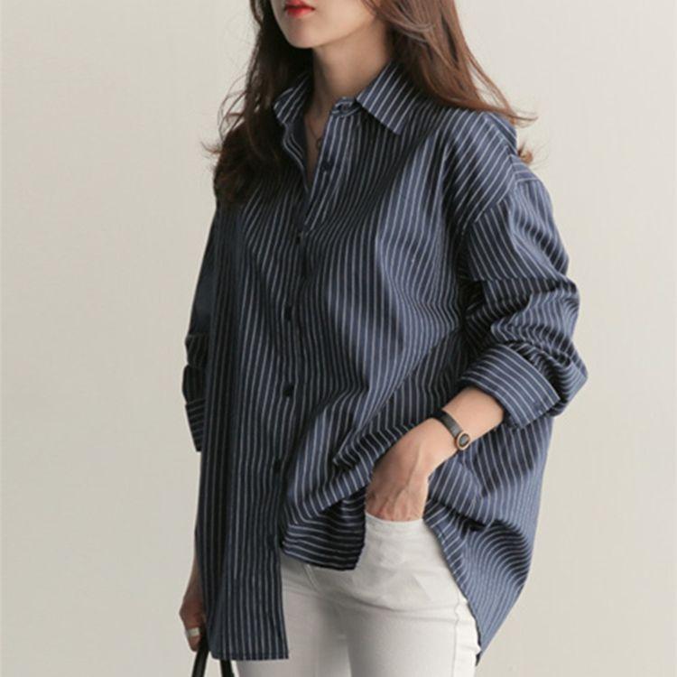 Blusas para mujer Camisas 2021 Primavera Blusa de verano Casual estilo coreano Camisa de rayas de la oficina de la oficina de la oficina suelta Tops salvajes BL1653
