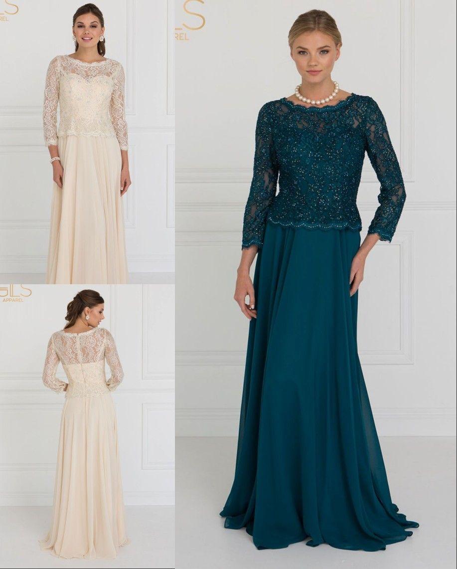 Chegada Nova Champagne Mãe Teal dos vestidos de noivo noiva com mangas compridas Lace Sequins oco Voltar barato vestido de noite vestido formal