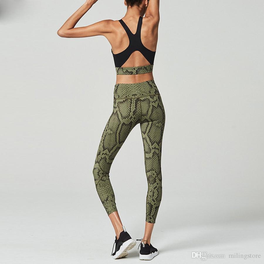 Mulheres pele de cobra imprimir 2 peças define de volta oco out desgaste ativo top bra leggings de fitness elástico treino de cintura