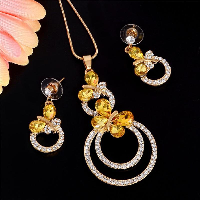 Set di gioielli da sposa moda esiod elegante set di orecchini a farfalla in cristallo con strass in oro giallo per regali da donna