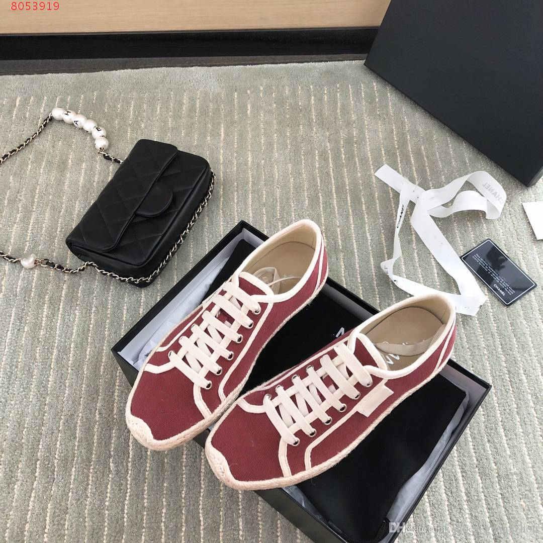 zapatos casuales de señora de la lona de lujo vienen de la mano, elegante y casual, Borgoña azul y negro tamaño blanco 35-39 Con la bolsa para polvo