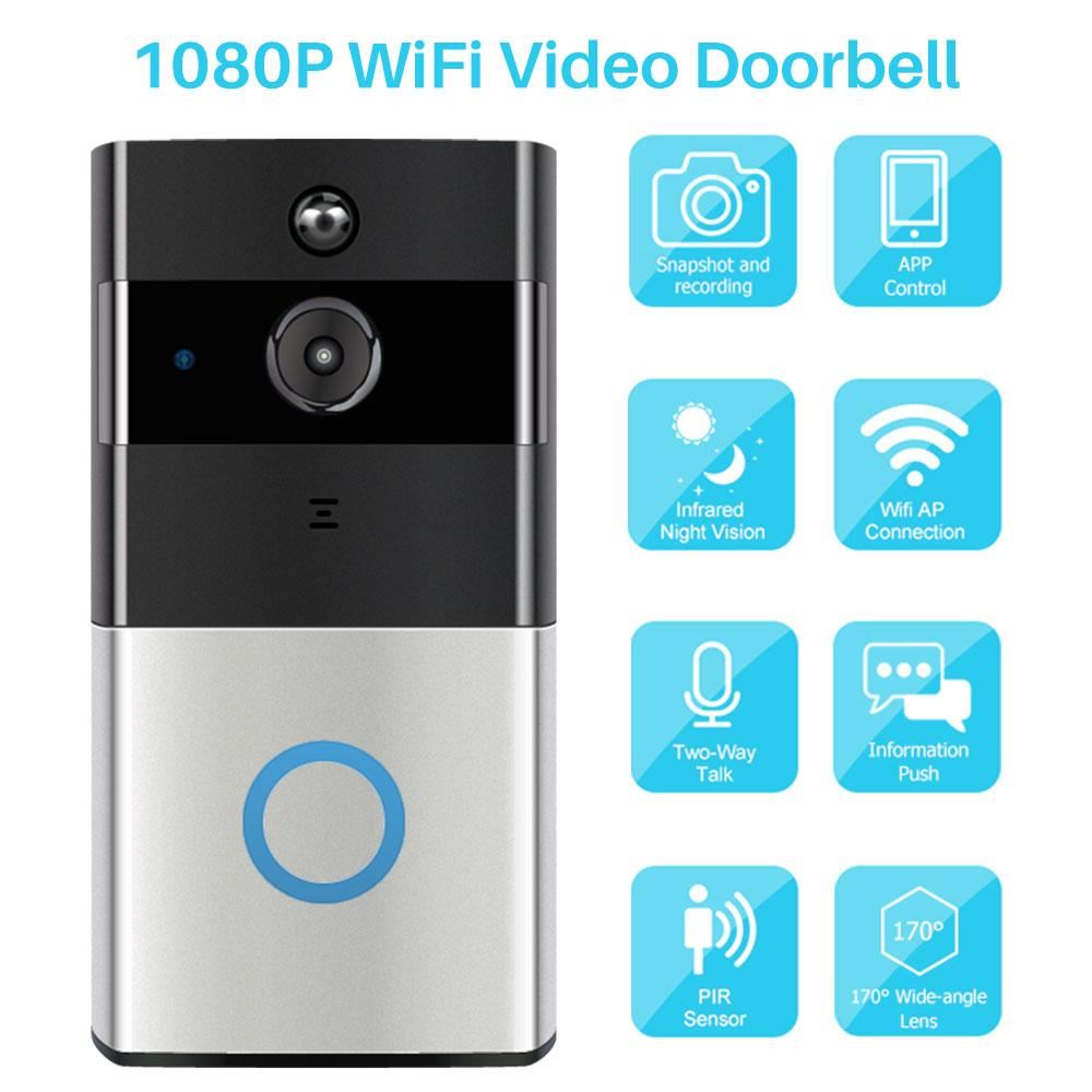 2020 فيديو جديد WiFi لكاميرا جرس الباب IP door bell Two-Way Video Intercom PIR Monitor Almarm Remote Home Monitoring Via Smartphone APPP