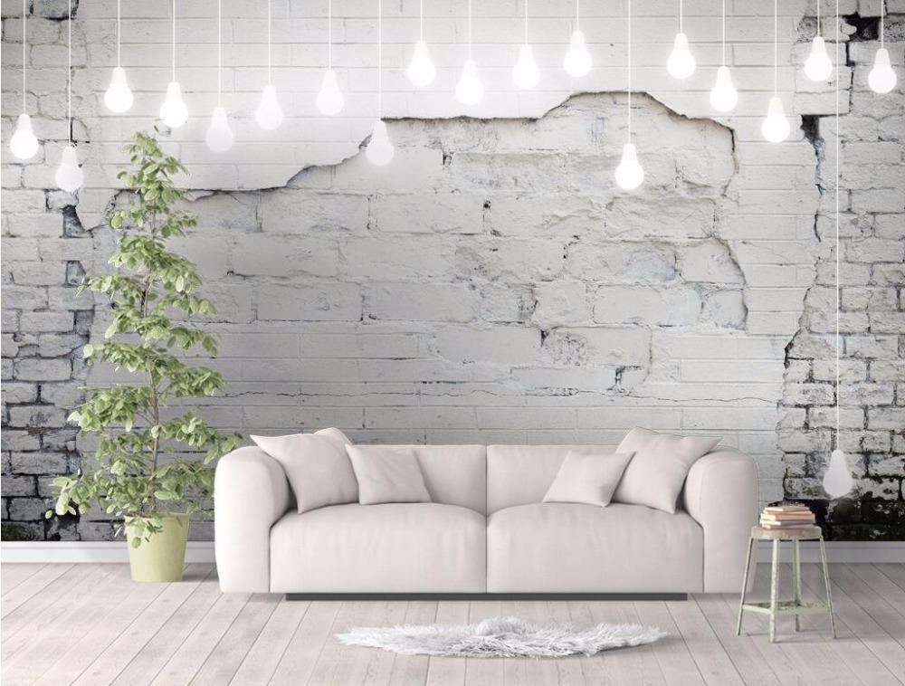 Bacal Kundenspezifische Tapete großes Wandbild 3D-Foto Nordic Vintage weiße Wand Sofa Hintergrund Tapeten papel de parede