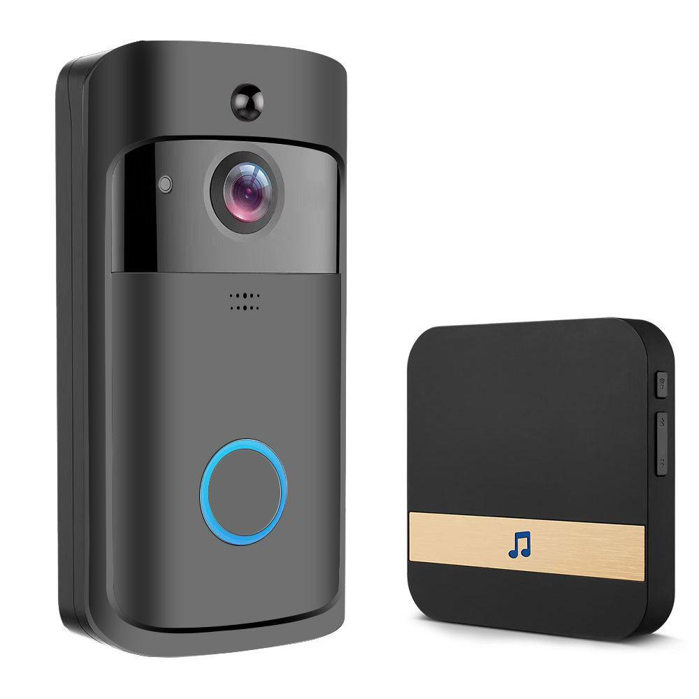 ترقية في عام 2020 فيديو لاسلكية الجرس الأشعة تحت الحمراء للرؤية الليلية كاميرا الجرس IP5 للماء HD كاميرا واي فاي الأمن لدائرة الرقابة الداخلية الروبوت الأسود