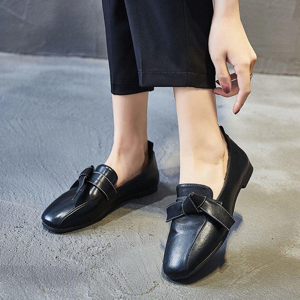 Chaussures Appartements Cuir Slip Cuir Femmes Machasers Chaussures 2019 Solide sur Bow printemps Femmes Femmes Femme DTORE