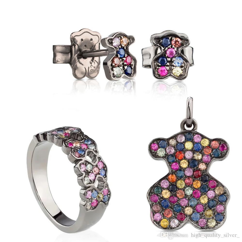 100% 925 Sapphire colorido oso colgante 213674580 dulce Pendientes Anillo romántico 313673520 C313675580