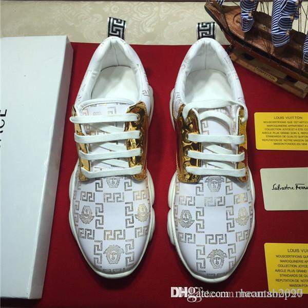 o envio gratuito de alta qualidade Homens sapatos de design de luxo calçados casuais Formadores na moda da marca Impresso sapatilha moda com caixa
