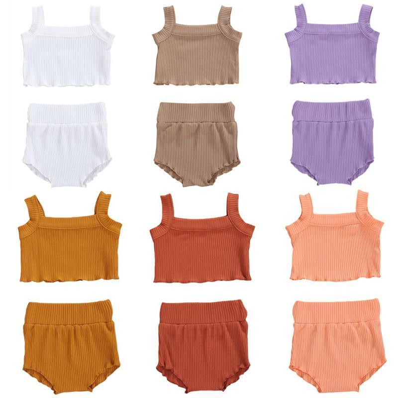 2020 Vêtements d'été Bébé 2 Pièces enfants Costume Set mode couleur solide sans manches T-Shirts Débardeur et shorts pour les filles de bébé
