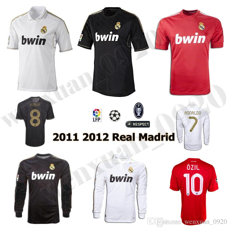 2011 2012 Gerçek Madrid Futbol Forması 11 12 Retro Jersey Ev Uzakta Şampiyonu Ligi Ramos Kaka Ronaldo Benzema Alonso Klasik Gömlek