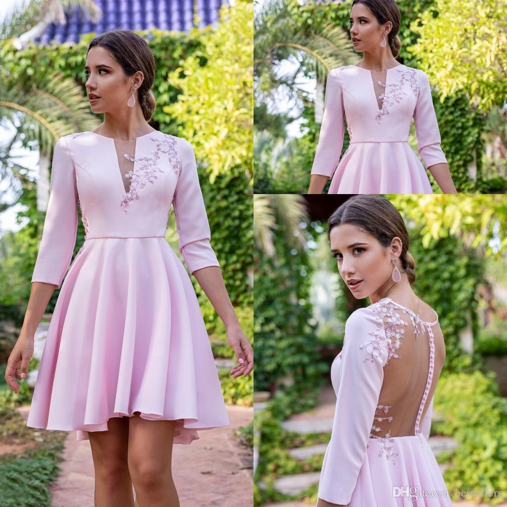 Новый Бледно-Розовый Короткие Мини Homecoming Платья 2020 Кружева Аппликации С Длинными Рукавами Выпускной Коктейль Платья