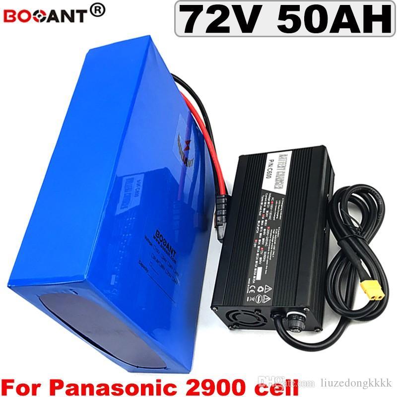 Batterie de vélo électrique de 72V 50AH 5000W pour Panasonic 18650 Cell E-Bike Batterie au lithium 72V 30AH 40AH 40AH 3000W + 5A Chargeur + 100A BMS