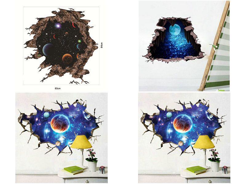 Einzelhandel 3d gebrochen Wand Weltraum Planet Wandaufkleber Aufkleber für Kinder Schlafzimmer Wohnzimmer Dekorationen Home Decor Aufkleber Kunst Bilder Tapete