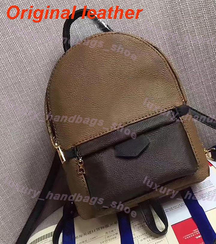 Eski çiçek Mini sırt çantası Kahverengi harfler Orijinal deri sırt çantası Çanta Bayan Moda Casual Schoolbag Çanta
