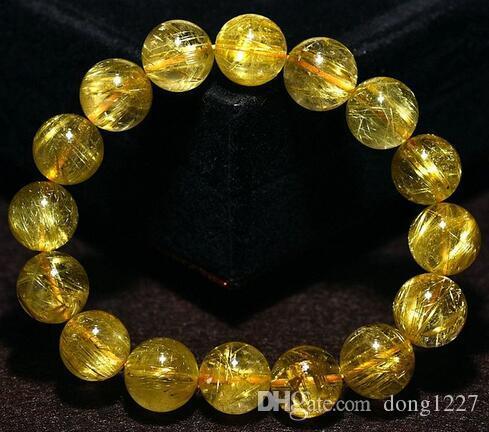 Natural de Cuarzo rutilado de oro del pelo del oro cuentas pulsera de 6 mm cristal