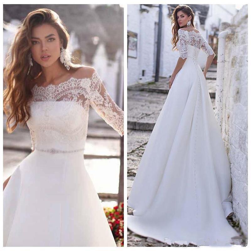 Vintage White Satin Due Pezzi mezza manica con spalle in pizzo abito da sposa A-line Sash Giardino Abiti da sposa