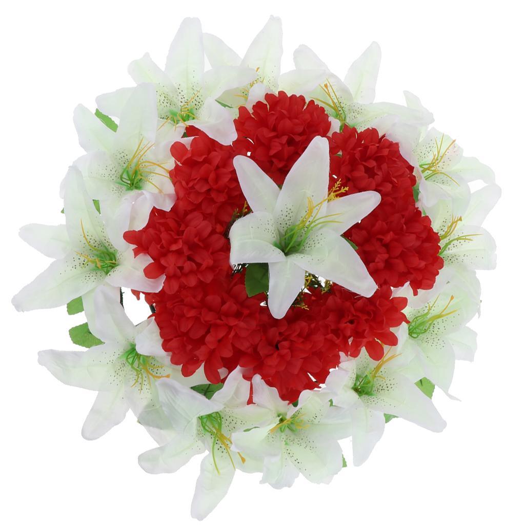 Yapay Lily Kasımpatı Çiçek Çelenk Mezarlığı Mezar Anıtı Çiçek Çelenk