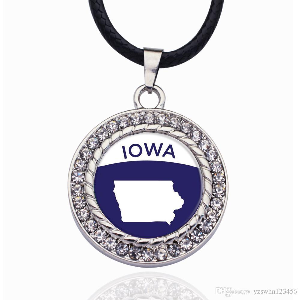 Esquema de Iowa Círculo Charm Necklace para estrellas de cristal Colgante Cadena Collares gargantillas Joyería de Moda