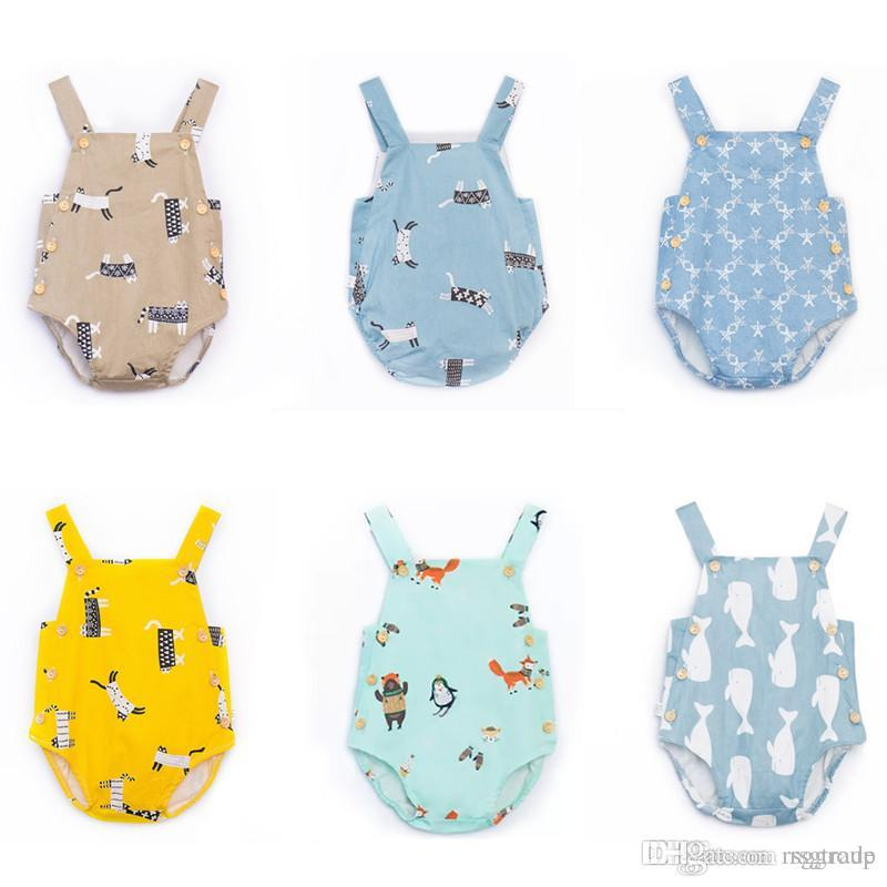 New INS Cute Baby Cartoon Print Suspender Rompers Summer Baby Boutique Clothing Infant Toddlers Sleeveless Cotton Onesies High Quality 0-3T