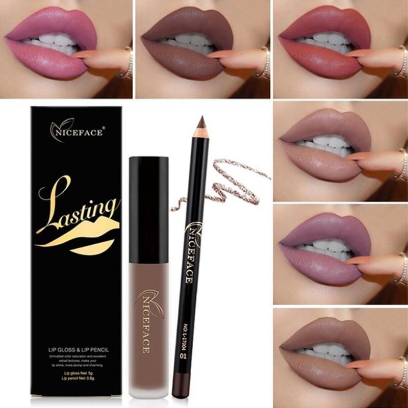 Multicolor Matte Longa Duração Non-Stick Copa não-fading Lip Gloss Lip Liner Combinação Natural Velvet Liner Maquiagem Tool