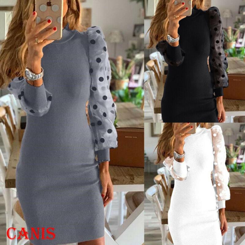 Womens Bodycon Knit maglione lunghezza del vestito da Puff manica lunga ponticelli vestiti dalla matita 2020 nuove signore vestito casuale Winter Dress caldo
