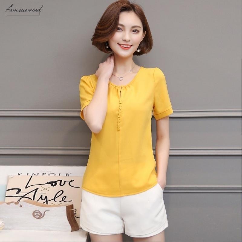 Chegada Nova 2020 de alta qualidade Womens Casual Sólidos Blusa Moda soltas Chiffon camisa de manga curta 3XL