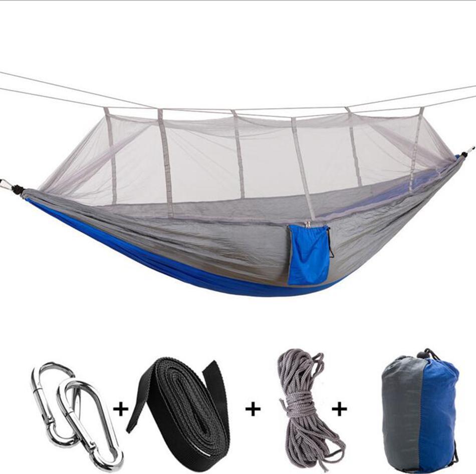 Hot sale moustiquaire hamac 12 couleurs 260 * 140cm extérieur Parachute tissu terrain de camping Tente Jardin Camping Balançoire Livraison gratuite Lit Hanging