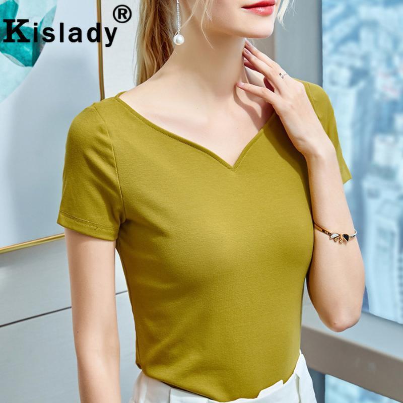 المرأة t-shirt 2021 kislady المرأة مثير العميق الخامس الرقبة الصليب القوس قمم قميص أنيق القوطية الصلبة المرقعة القمصان الكورية المتناثرة الملابس