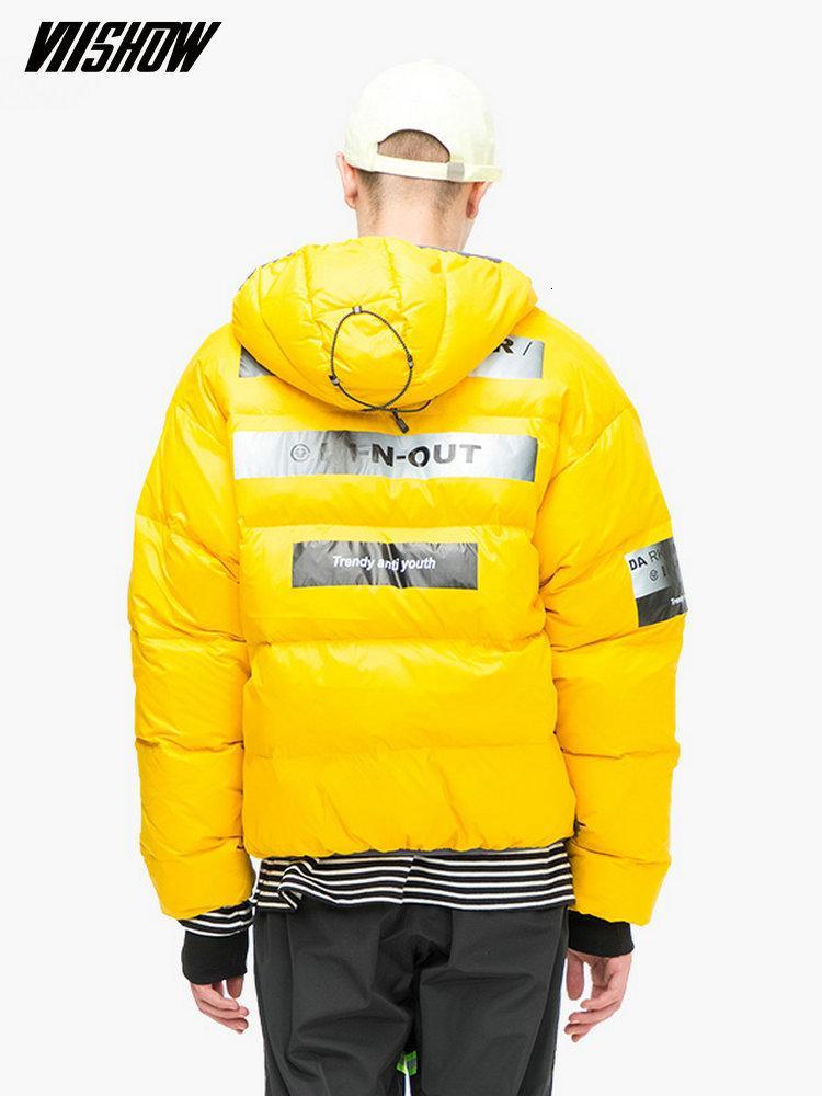 Winter Jacket Down Jacket Marca dos homens Pato VIISHOW branco para o revestimento do inverno Brasão YC2213184 S191019 Homens Doudoune Homme 2018 dos homens impressos