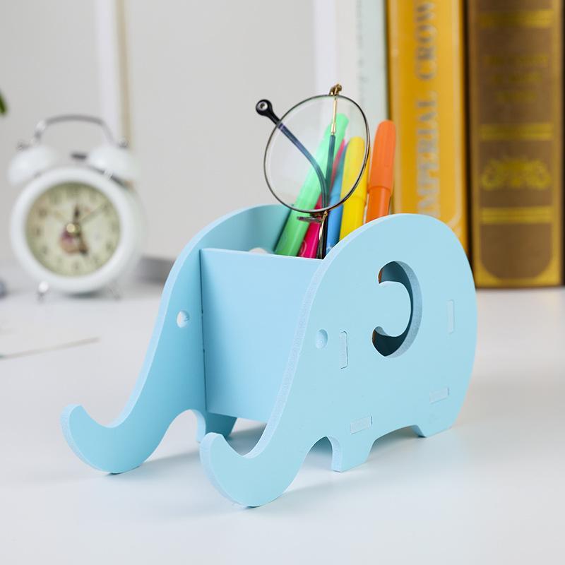 Multifuncionales Logotipo de escritorio de la tabla linda de colores creativos Forma de madera elefante Pluma de la oficina Holder soporte para teléfono móvil de los hogares de almacenamiento dispositivo