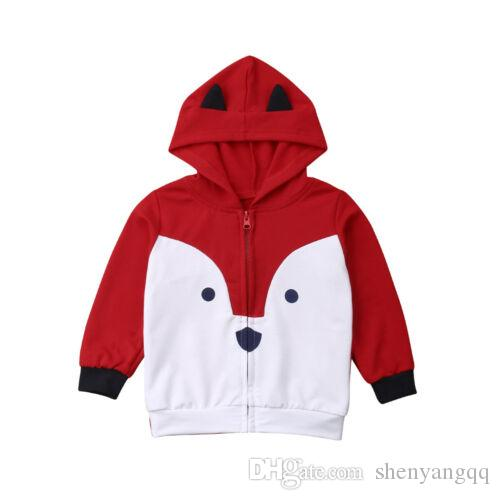 New Kids 유아 소년 Red Fox Hoodies 운동복 탑스 Zip Jacket Coats Clothes