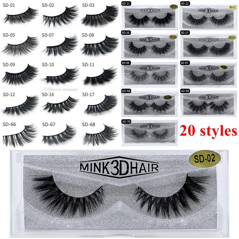 3D Mink Eyelashes Eye makeup Mink False lashes Soft Natural Thick Fake Eyelashes 3D Eye Lashes Extension Beauty Tools 20 styles DHL Free