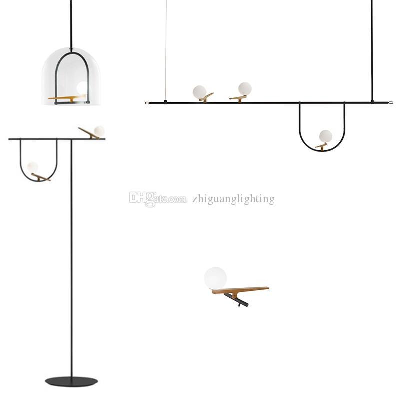 pendant nordic light bird pendant lights creative personality wrought iron restaurant geometric line hanging lamp led fairy lamp